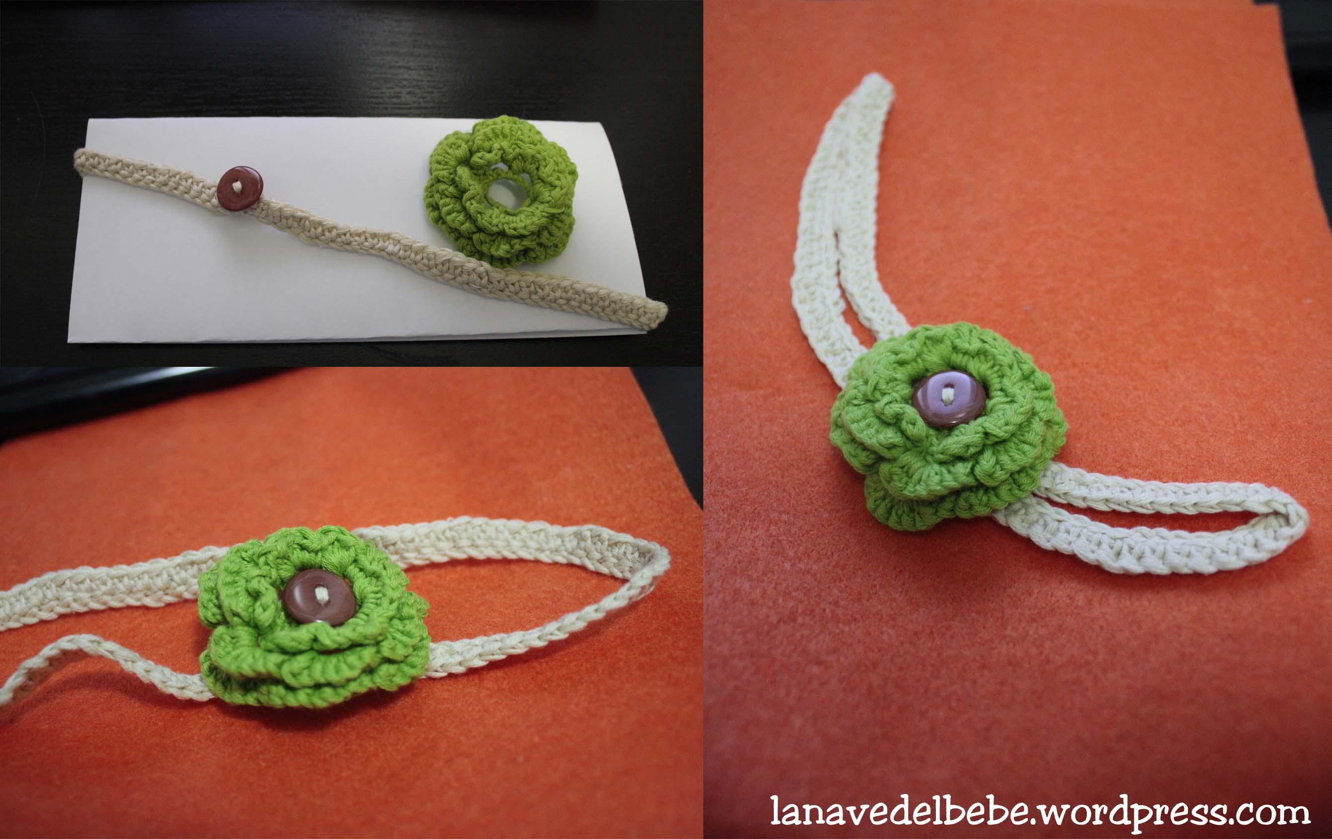 Diadema con flor de ganchillo • La nave del Bebé