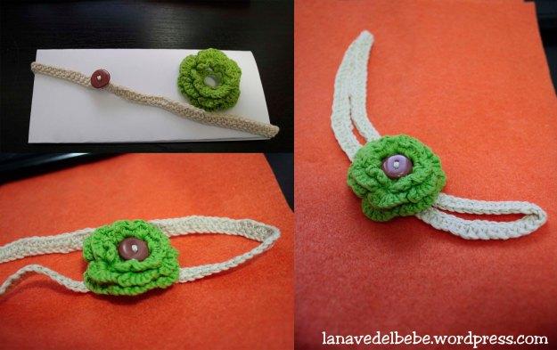 diadema de crochet con flor verde ganchillo