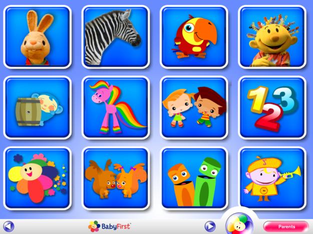 Baby first TV menu